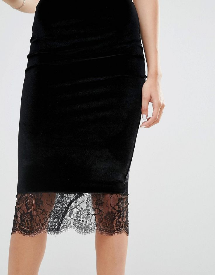 Image 3 of Boohoo Velvet Skirt With Lace Overlay