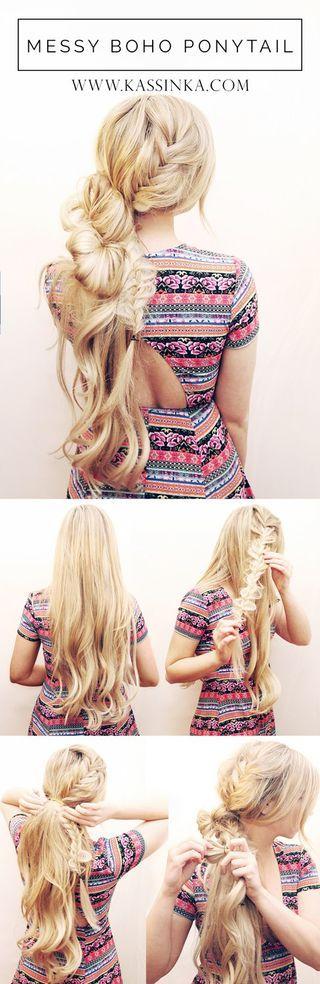 Messy Loose Boho Ponytail Hair Tutorial