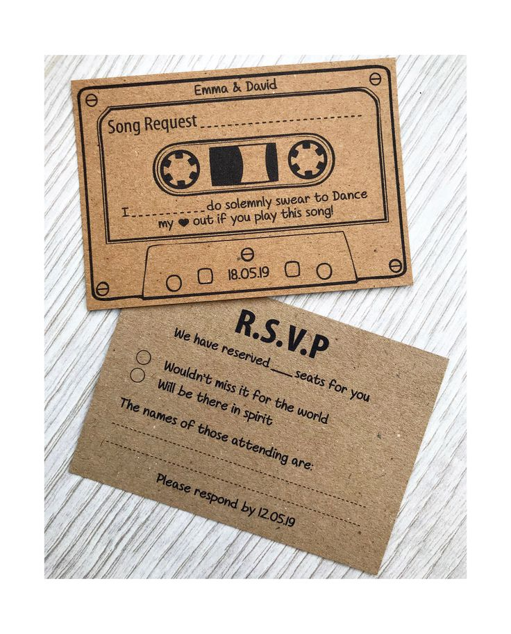 RSVP Wedding Cards Personalised Song Request Double Sided Kraft Retro Fun Game Custom Cassette Music invitation Winter