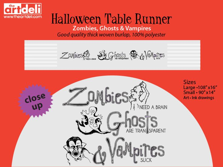 Zombies, Ghosts & Vampires Table Runner •Ink Drawings printed on good quality thick woven burlap, 100% polyester. http://www.theartdeli.com