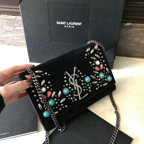 bbf37562ce9f Saint Laurent Monogram Kate Berber Chain Bag in Black Suede with Multicolored  Beads