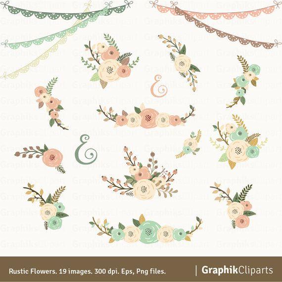 FLORES RÚSTICAS CLIPART    Estos son los gráficos perfectos para crear tus invitaciones de boda, guardar la fecha tarjetas, invitaciones de la