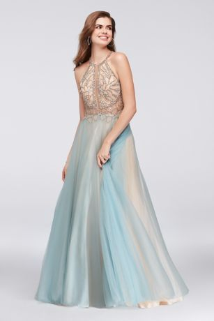 e0cb27d238 Layers of aqua and nude tulle create a dreamy cloud of color on the skirt  of this intricately detailed ball gown. The illusion lace bodice is  encrusted with ...