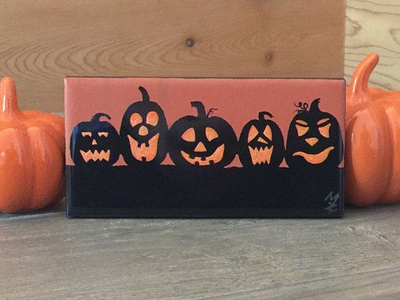 Hand Painted Happy Halloween Jack-O-Lanterns
