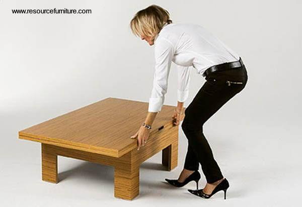 Genial para espacios pequeños!!, mesa ratona expandible a mesa de comedor para 6 personas.
