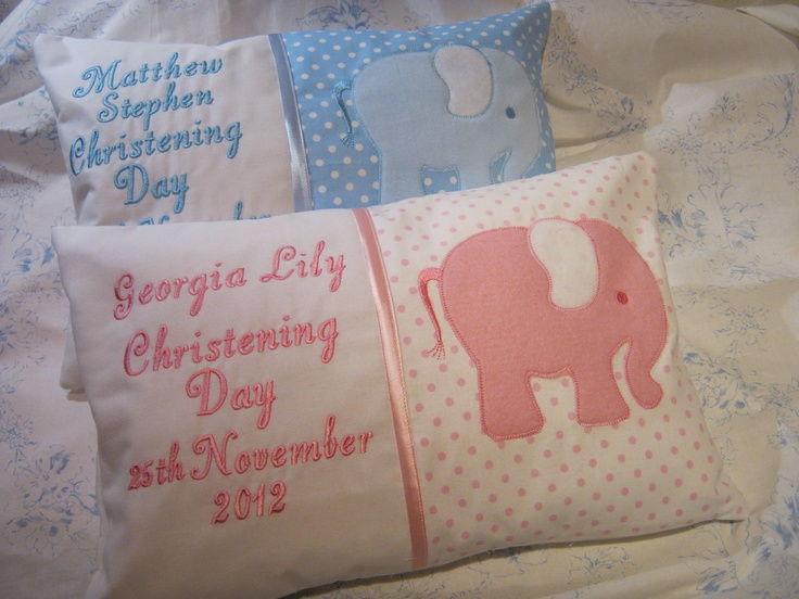 Personalised Christening gift  cushions made for a friend