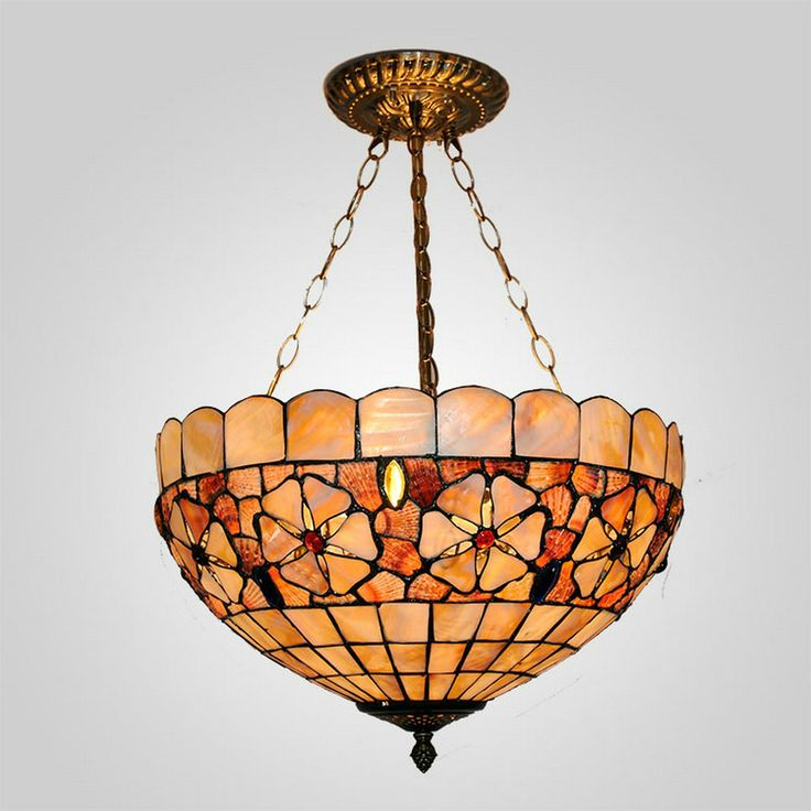 MAMEI  Free Shipping 16 Inch 3 Lights Tiffany Pendant Light For Living Room With Sea Shell Lamp Shade 110-240V Is Available