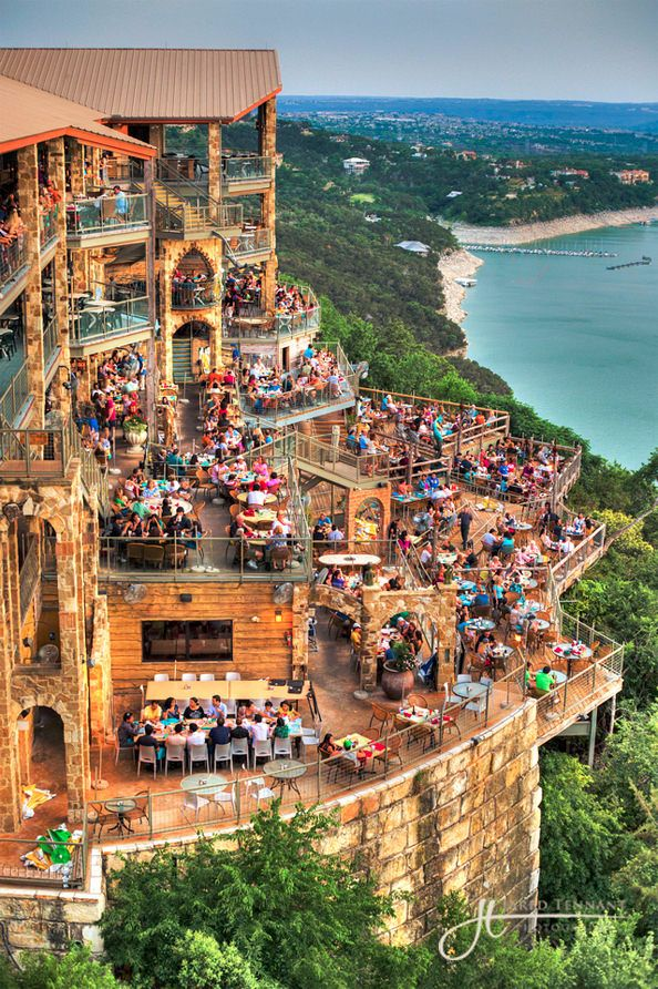 This only makes me love Austin more... The Oasis – Lake Travis, Austin, TX. What a view! The Oasis is a popular restaurant perched on a bluff 450 feet above Lake Travis in Austin, TX.
