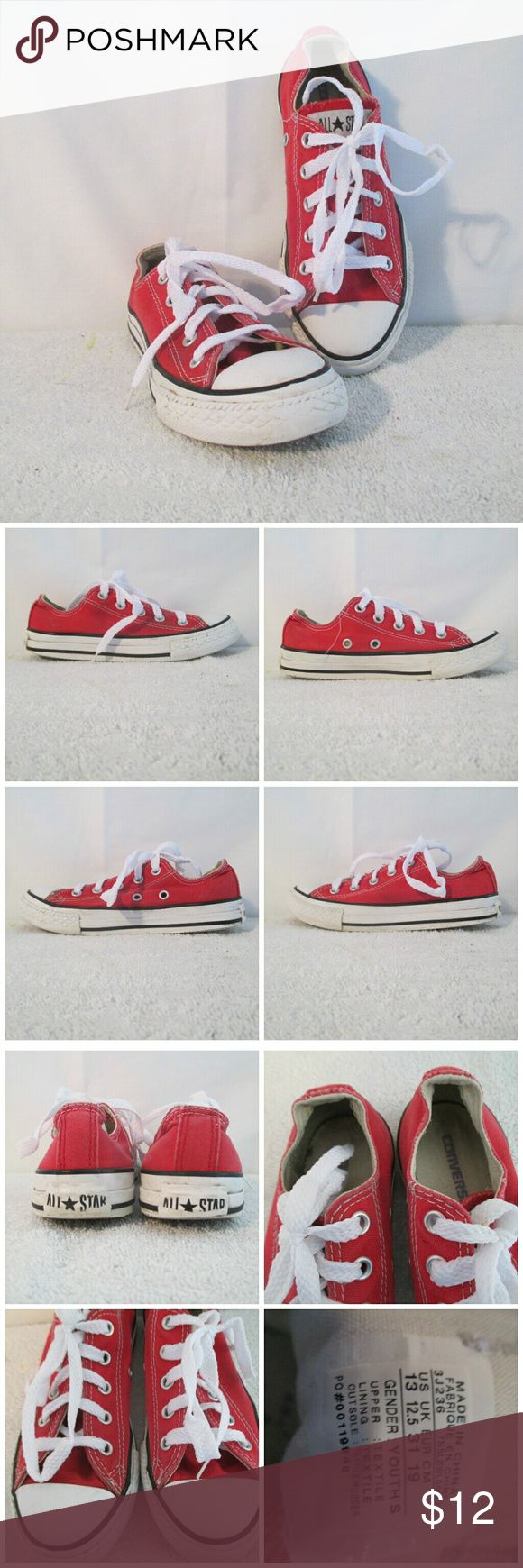 "Red Converse Youth Sneaker Shoes Size 13 Here's a nice looking pair of youths red Converse shoes that are still in good condition with only gentle wear. Stated size is 13. Measures 9.75"" from heel to toe and 3.25"" widest sole width. Converse Shoes Sneakers"
