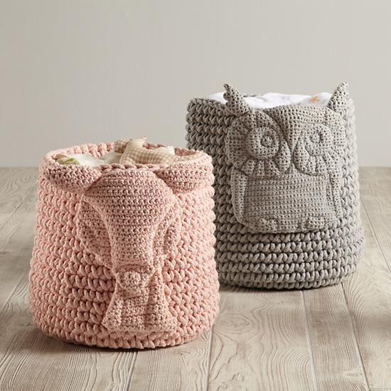 Wee Woodland Crochet Bin   The Land of Nod