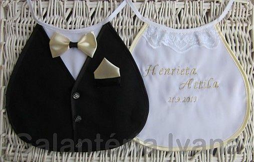 galanteria / Svadobné podbradníky Sme svoji s menom a dátumom farba champagne