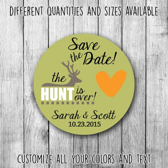 The hunt is over save the date printable wedding custom stickers by mycustomwedding on