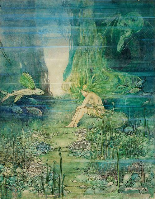 Splendiferous Gorgeous MERMAID! Fairy Tale Vintage DIGITAL Illustration. Mermaid…
