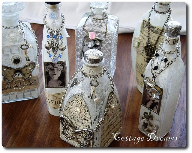 Altered bottles, great use for old jewellery.