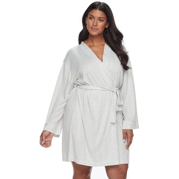 Plus Size Croft & Barrow® Whispery Clouds Kimono Robe ($50) ❤ liked on Polyvore featuring plus size women's fashion, plus size clothing, plus size intimates, plus size robes, plus size, white, women's plus size robes, kimono robe, plus size kimono and bath robes