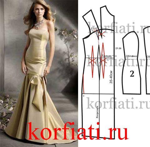 Выкройка платья годе для особого выхода. Это платье годе - настоящее сокровище! Такое платье можно сшить из переливчатого золотого атласа с эластичными...