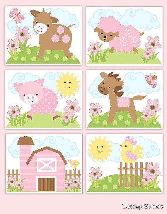 Farm Animal Baby Girl Boy Nursery Prints Wall Art Barnyard Kids Bathroom Room