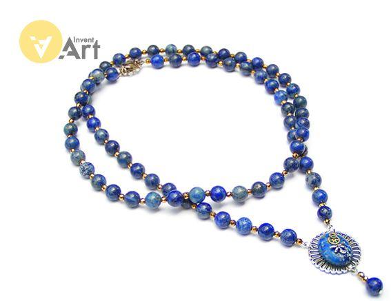 Paris Blue necklace with lapis lazuli, hematite and agate pendant by Invent-Art