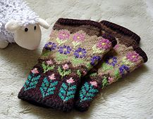 Notes  charts from 3 different mittens in the pattern book; A605:142 Simuna, p…