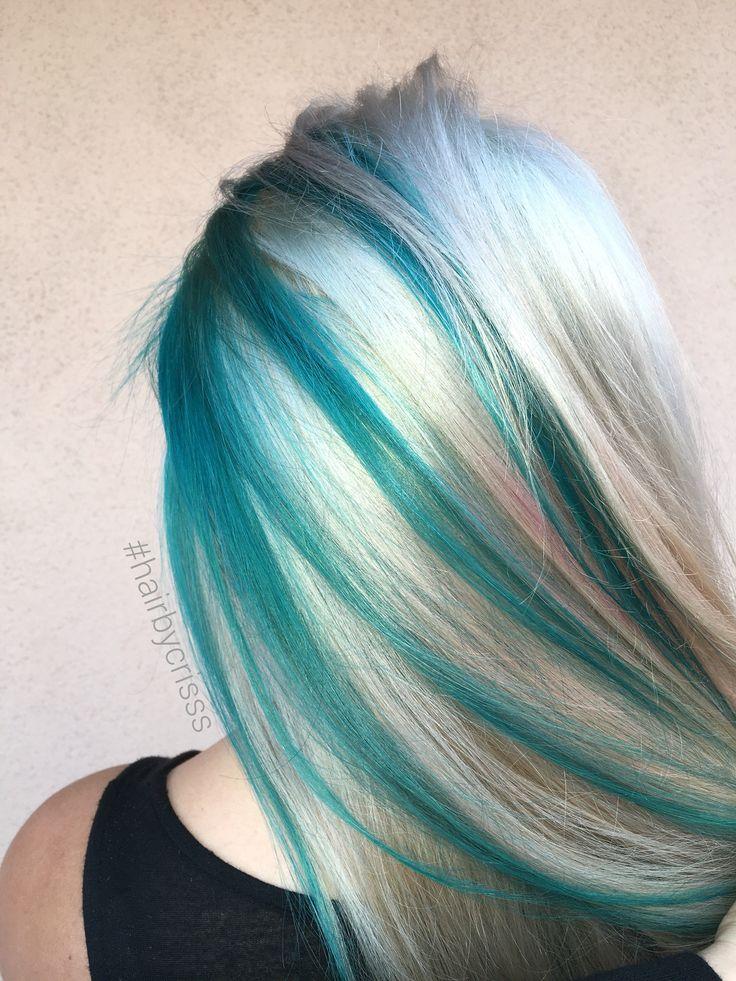 Teal turquoise blonde platinum  mermaid hair #olaplex #mermaidhair