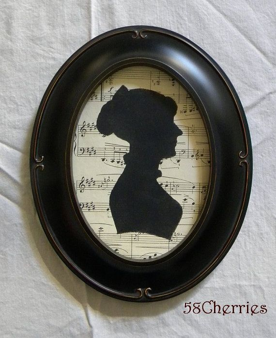 Jane Austen Silhouette on Antique Sheet Music Framed in Black Vintage Style Oval Frame - Shabby Chic Decor - Regency to Victorian Decor