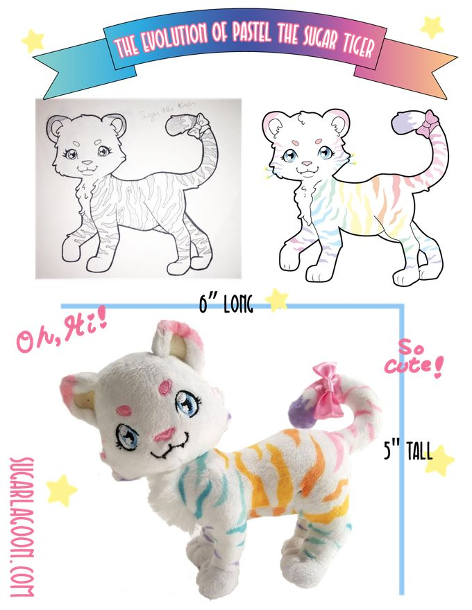 Pastel the Sugar Tiger Plushie, now on Kickstarter! Come see this unique character and help us bring her to life!