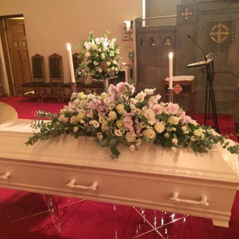 Coffin decoration with pink orchids and cream white roses - so tranquill and beautiful