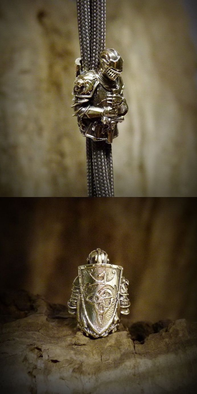 Paracord Knife Lanyard Bead Knight Guardian By Artbronzeshop