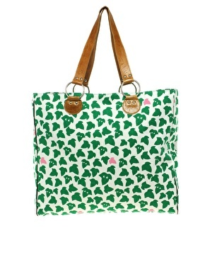 Eley Kishimoto pink and green ivy leaf tote
