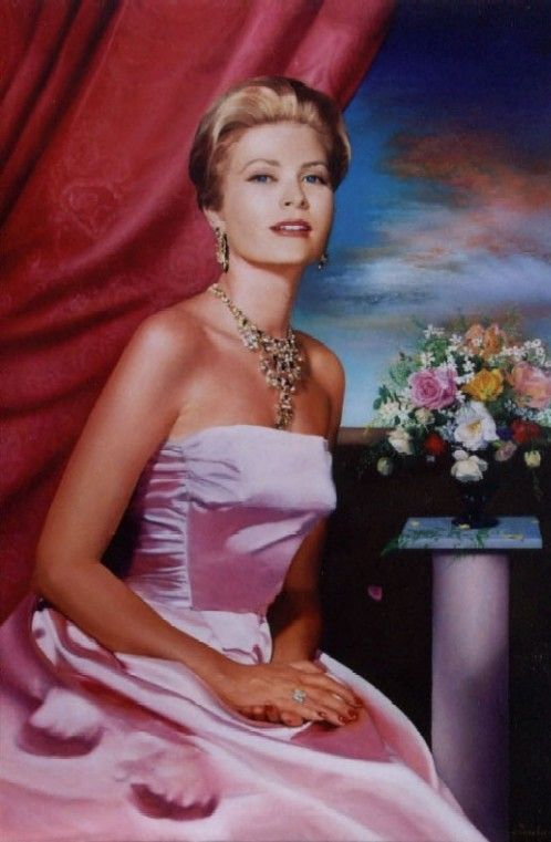 "Princess Grace, an official portrait, is regal in her stunning satin, strapless, ""princess seam"" fitted bodice, gown with statement necklace. Again, simplicity at its very finest."