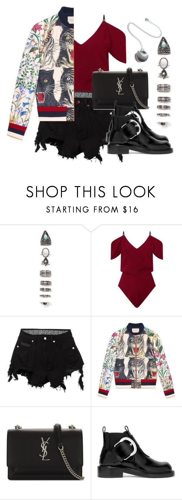 """""""Untitled #227"""" by ksalma ❤ liked on Polyvore featuring Nasty Gal, Roland Mouret, County Of Milan, Gucci, Yves Saint Laurent and Maison Margiela"""
