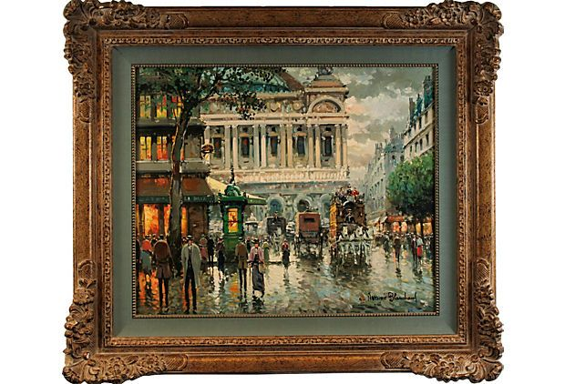 """HOME DECOR – ART – PAINTING – OIL ON CANVAS – A dynamic oil painting of a busy Paris street. Signed """"Antoine Blanchard"""" (French 1910-1988) lower right. Displayed in an ornate giltwood frame. L'Opéra, Paris."""