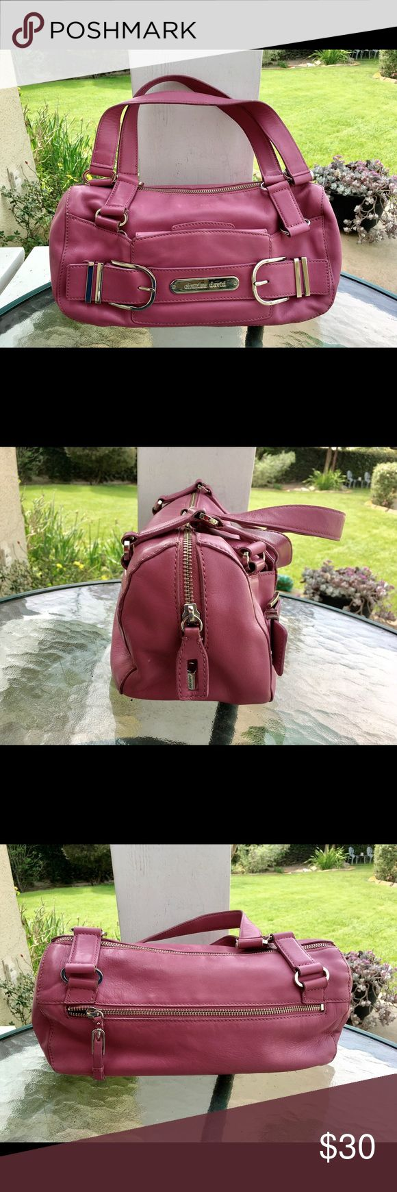 """Charles David Rose Pink Leather Handbag Dimensions: 6"""" height; 12"""" length; 5"""" depth; 8"""" strap drop. Double strap. Genuine leather in a beautiful rose pink color. Bag shows some minimal wear. Charles David Bags Satchels"""