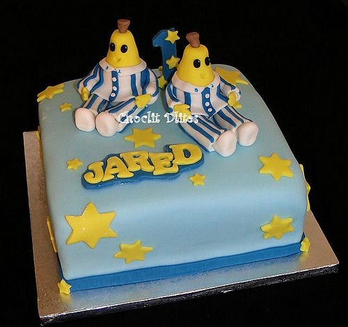 23cm square chocolate sponge with ganache - hand modelled 'banana' for Jared's Bananas in Pajamas themed birthday cake