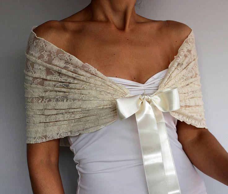 Cream Bridal Shrug Lace Shawl Bolero Evening by MammaMiaBridal