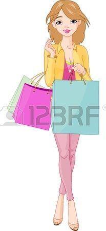 Illustrazione della bella ragazza con borse per la spesa photo