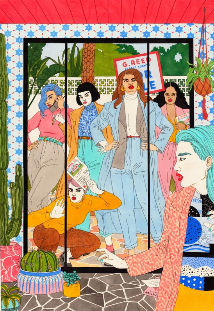 A selection of the colorful illustrations byLaura Callaghan, a British illustrator based in London whouses a mixture of watercolor, markers and pen, featuri