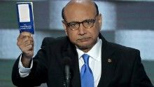 PHILADELPHIA, PA - JULY 28:  Khizr Khan, father of deceased Muslim U.S. Soldier, holds up a booklet of the US Constitution as he delivers remarks on the fourth day of the Democratic National Convention at the Wells Fargo Center, July 28, 2016 in Philadelphia, Pennsylvania. Democratic presidential candidate Hillary Clinton received the number of votes needed to secure the party's nomination. An estimated 50,000 people are expected in Philadelphia, including hundreds of protesters and membe...