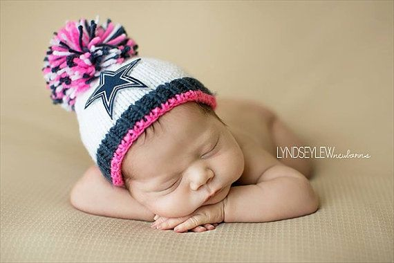 Dallas Cowboys Baby Girl Beanie Hat Newborn by babyknitsnfrills