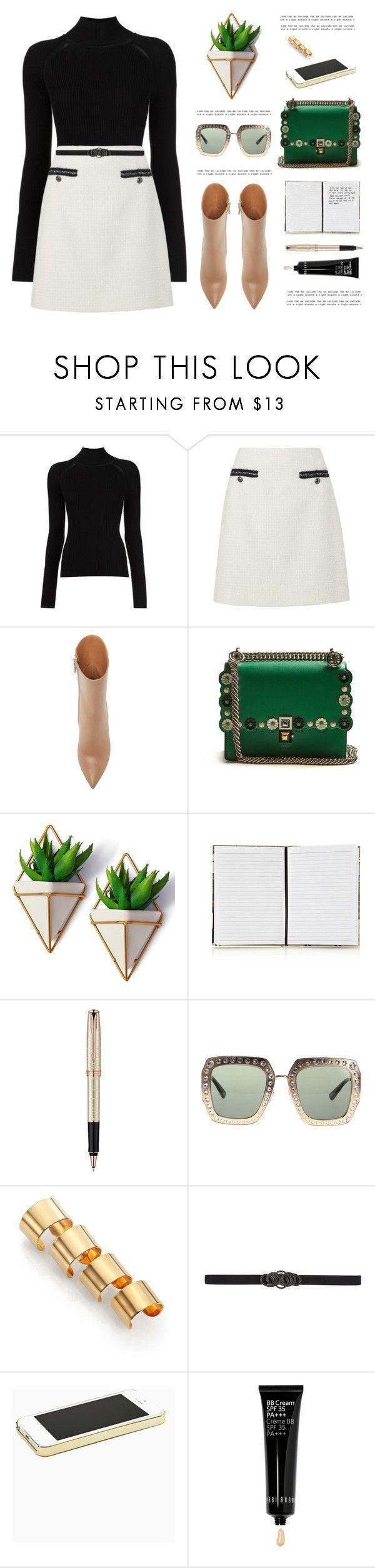"""OOTD"" by yexyka ❤ liked on Polyvore featuring Misha Nonoo, Fendi, Harrods, Parker, Gucci, Maison Margiela, Oscar de la Renta, Bobbi Brown Cosmetics and emeraldgreen"