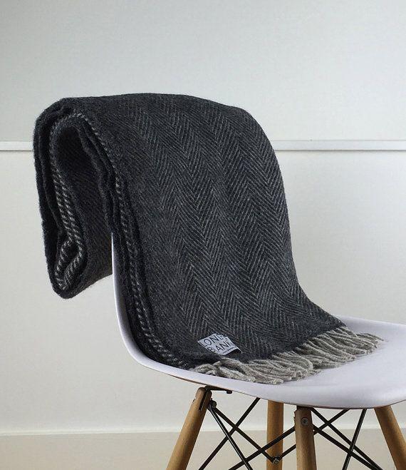 Silver Grey Throw Blanket 100% Wool Grey Sofa Throw Silver