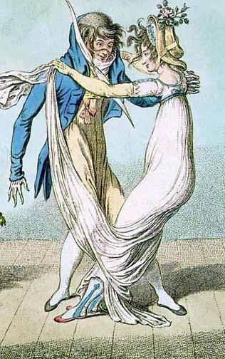 In some of the yearly years of the waltz, the lady's long skirt was lifted like this, further isolating the couple