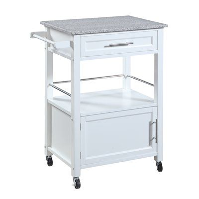 Good Linon Home Decor White Kitchen Cart with Granite Top