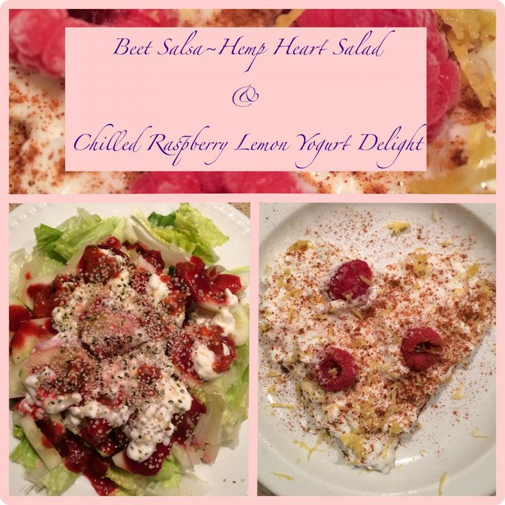 Beet Salsa & Hemp Heart Salad For Dinner with Chilled Raspberry Lemon Yogurt Delight!