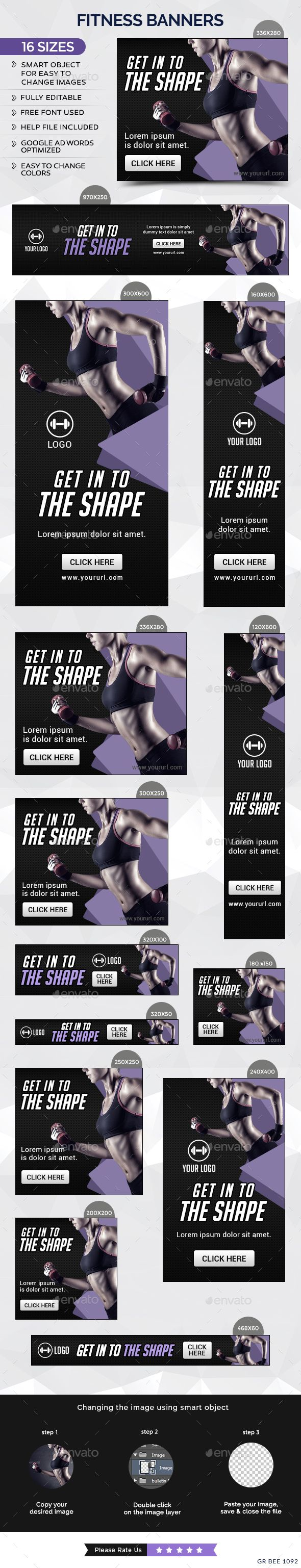 Fitness Web Banners Template PSD #ad #promotion Download: http://graphicriver.net/item/fitness-banners/14539349?ref=ksioks