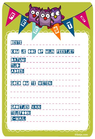 Feestje! Uitnodiging. / Party! Invitation. / To download in Dutch and English.