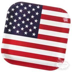 US Paptallerken - Amerikansk US tema borddækning - amerikansk flag paptallerken, papkrus, servietter med det amerikanske flag - 4th of july fest bordpynt