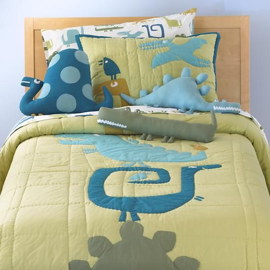 Kids Bedding: Green Dinosaur Quilt in Quilts & Blankets | The Land of Nod