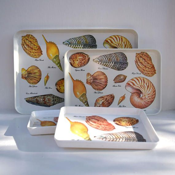 Seashells trays set of 4 serving trays Nautical decor beach #mebel #trays #seashells #nautical #luau #beach #ocean