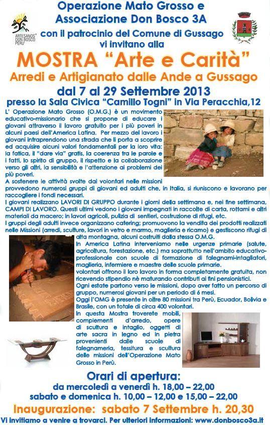 """Sabato 7 settembre inaugurazione di """"Arte e Carità"""", mostra di arredi ed artigianato andino - http://www.gussagonews.it/inaugurazione-mostra-arte-e-carita-arredi-artigianato-andino-settembre-2013-gussago/"""